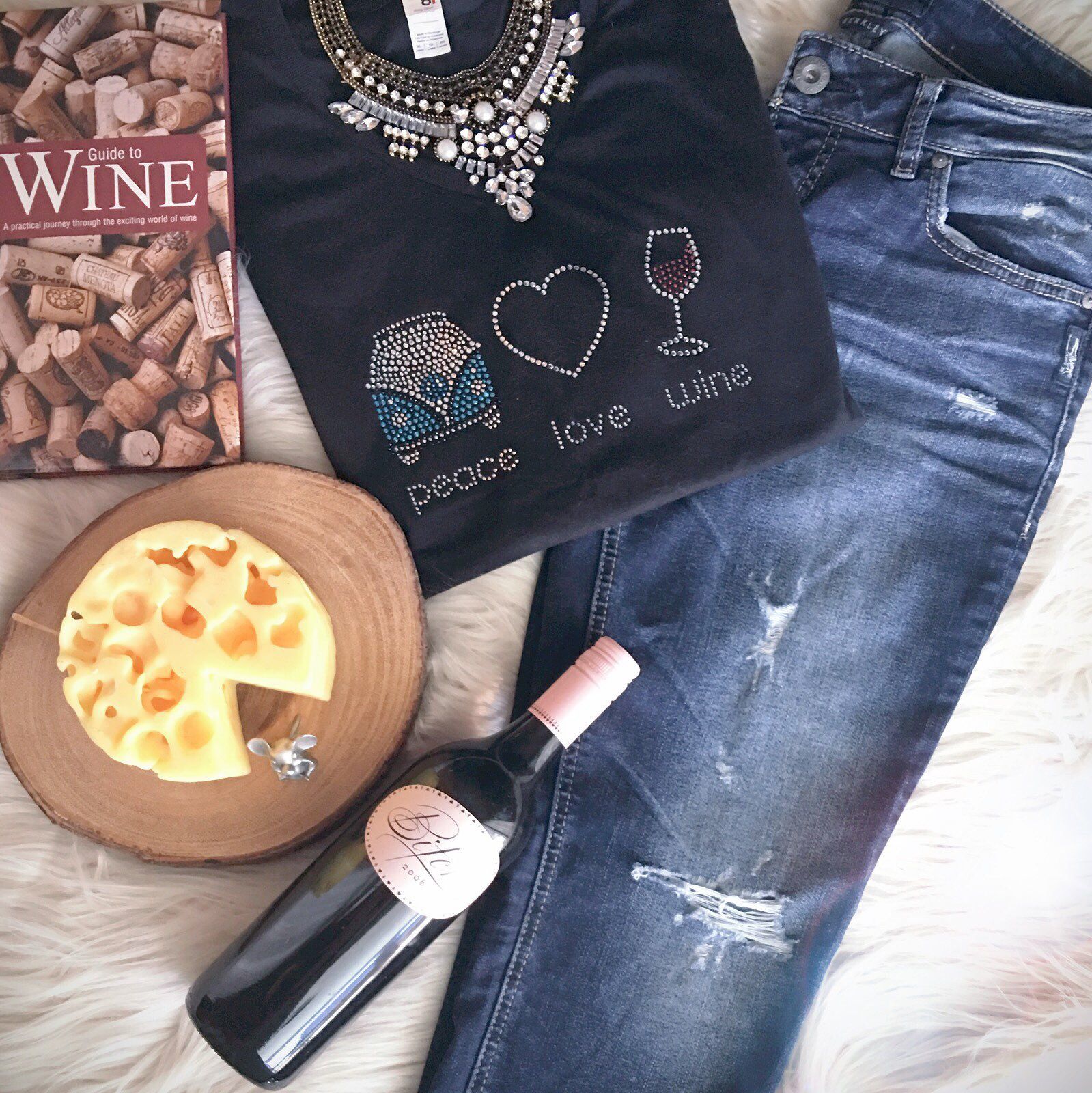 wine sparkle Peace Love Wine (and of course, rhinestones!)